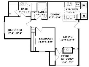 951 sq. ft. Horizon floor plan