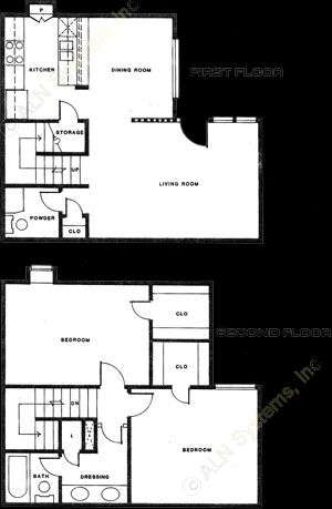 1,048 sq. ft. B-3 floor plan