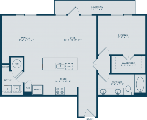 932 sq. ft. L floor plan