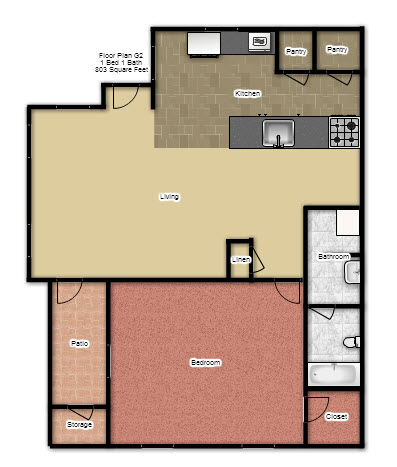 803 sq. ft. G2 floor plan