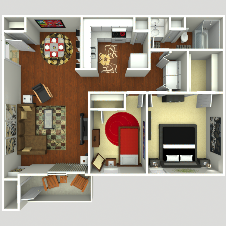 811 sq. ft. B1 floor plan
