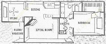 840 sq. ft. Oakwood floor plan