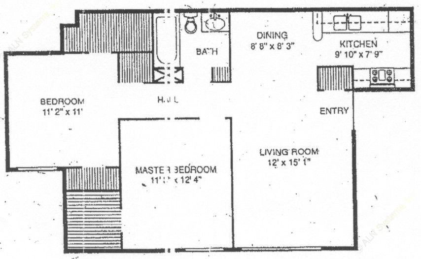 844 sq. ft. B-1 floor plan