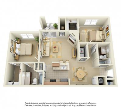 1,057 sq. ft. floor plan