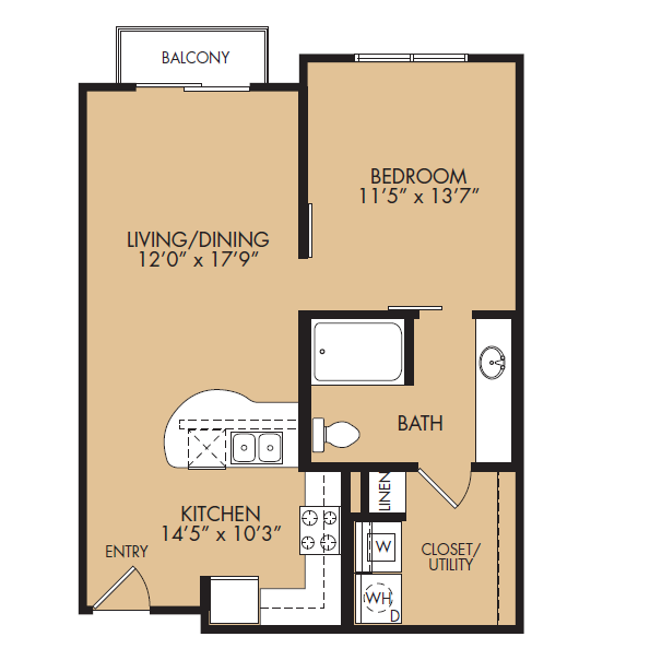 690 sq. ft. A1B-Standard floor plan