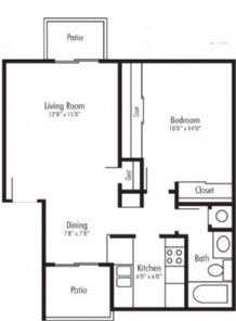 640 sq. ft. Angel floor plan