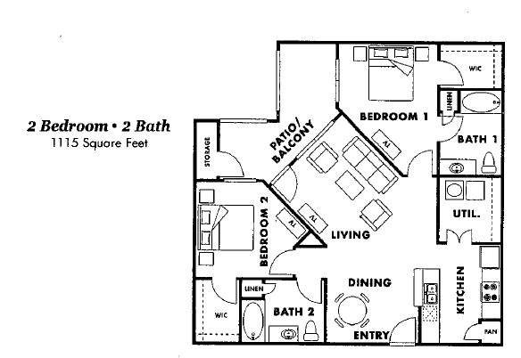 1,115 sq. ft. B2-60 floor plan