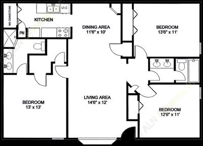 1,218 sq. ft. C2 floor plan
