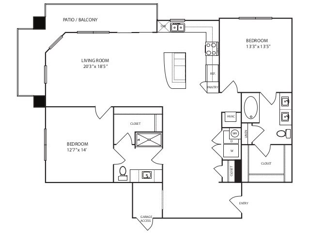 1,292 sq. ft. B3 alt 1 floor plan