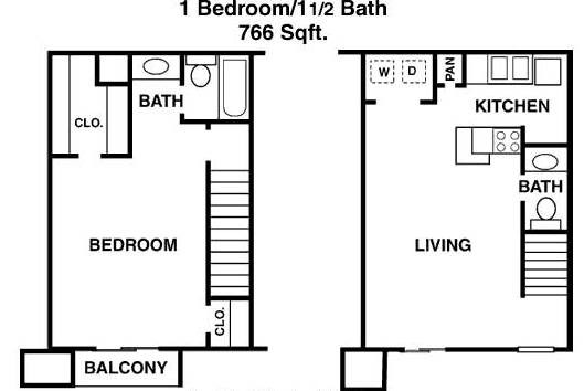 766 sq. ft. D floor plan