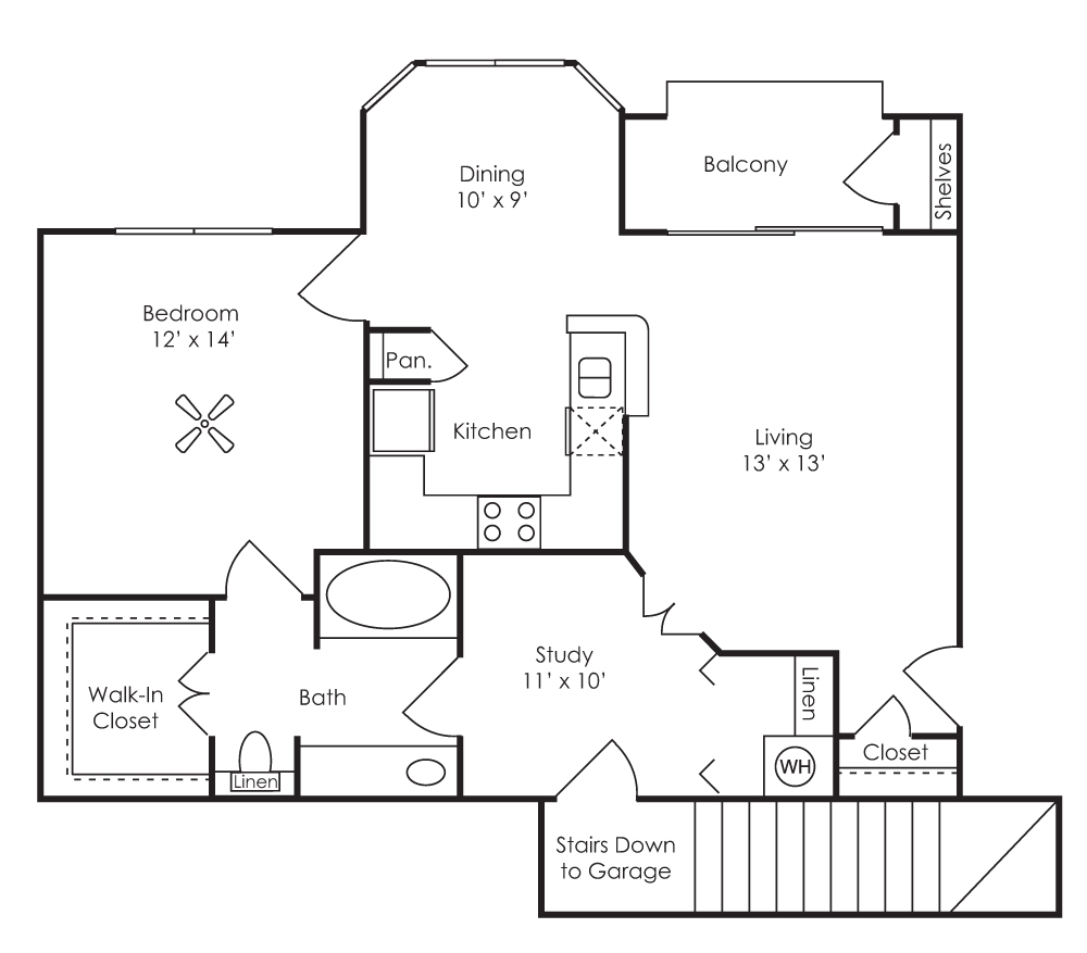 887 sq. ft. Cordoba (A3-E) floor plan