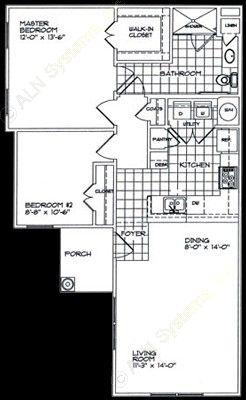 930 sq. ft. B1 floor plan