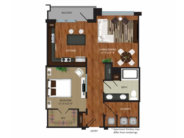 873 sq. ft. A9 floor plan