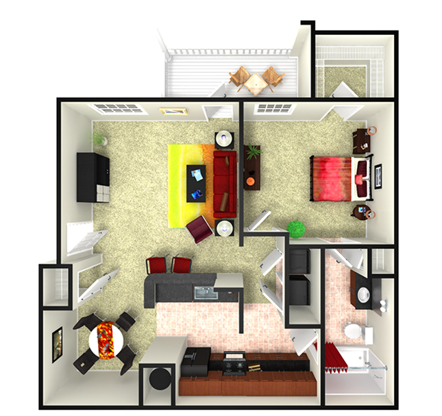 818 sq. ft. A4.3 floor plan