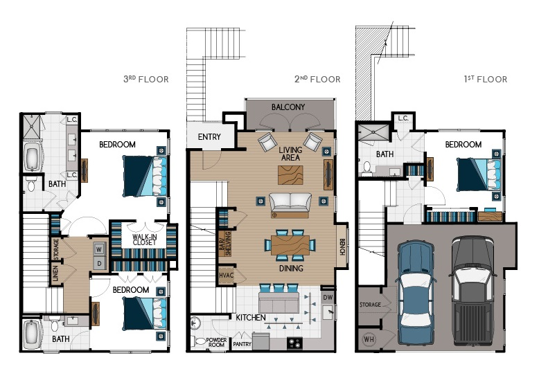 2,100 sq. ft. TH1 floor plan