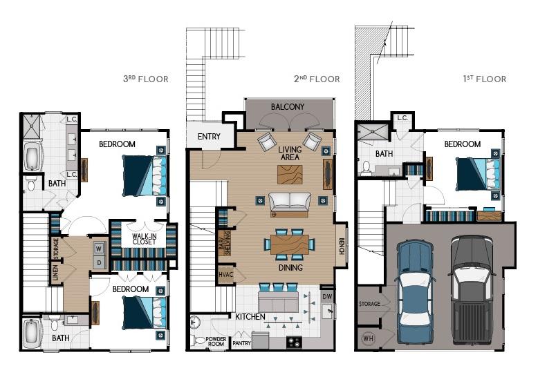 2,100 sq. ft. TH1 floor plan
