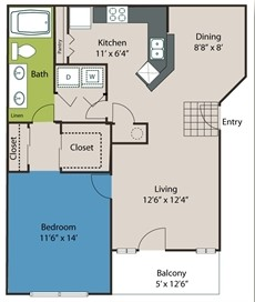 816 sq. ft. A3 floor plan