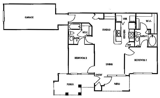 988 sq. ft. D1/60% floor plan