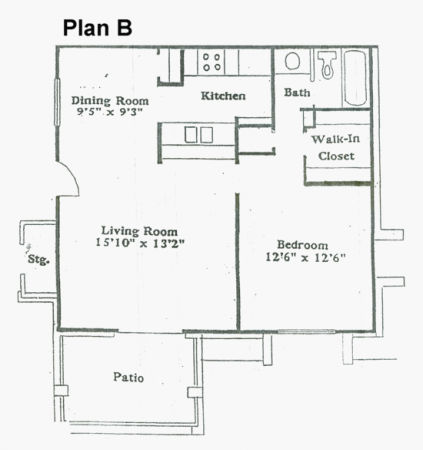 696 sq. ft. B floor plan