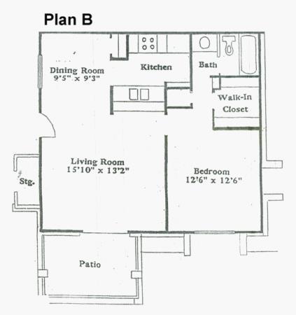 696 sq. ft. B floor plan