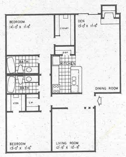 1,244 sq. ft. B2A floor plan