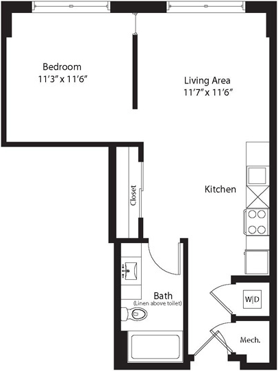 600 sq. ft. TA floor plan