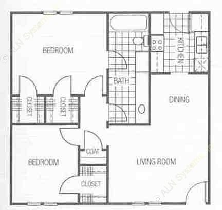860 sq. ft. floor plan