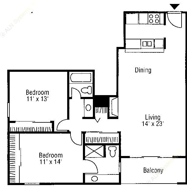 1,060 sq. ft. B3 floor plan