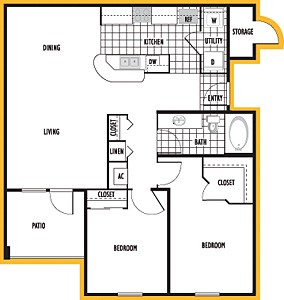 983 sq. ft. Salmanca floor plan