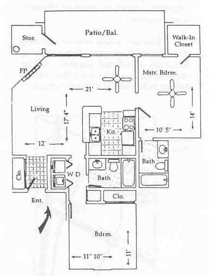 951 sq. ft. B-1 floor plan