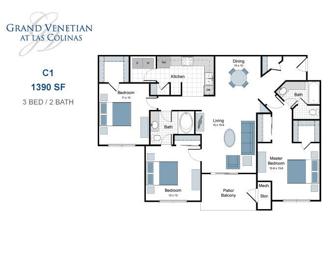 1,390 sq. ft. C1 floor plan