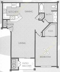 744 sq. ft. A floor plan