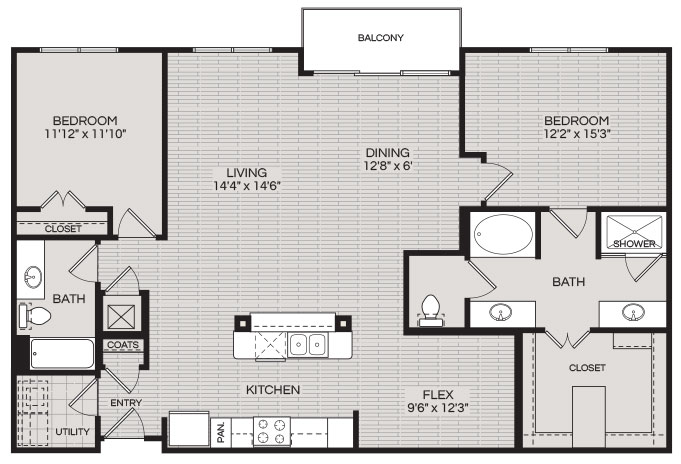 1,511 sq. ft. B3 floor plan
