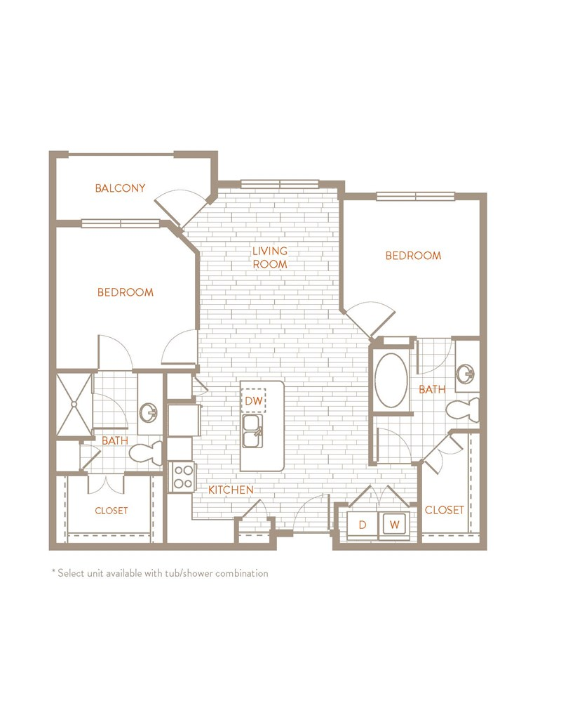 1,007 sq. ft. B1 floor plan