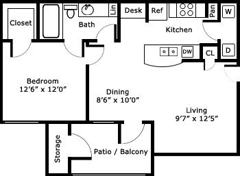 727 sq. ft. A-2/Seville floor plan