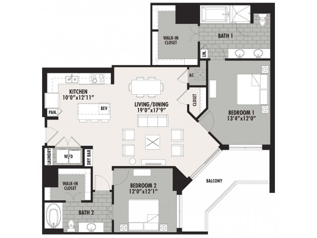 1,468 sq. ft. B1 floor plan