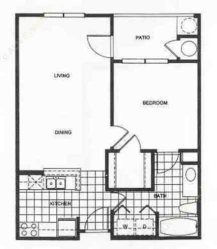 650 sq. ft. Ashford/Mkt floor plan