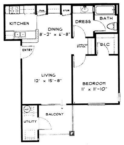 631 sq. ft. A1 floor plan