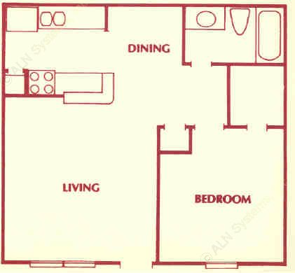 624 sq. ft. B floor plan