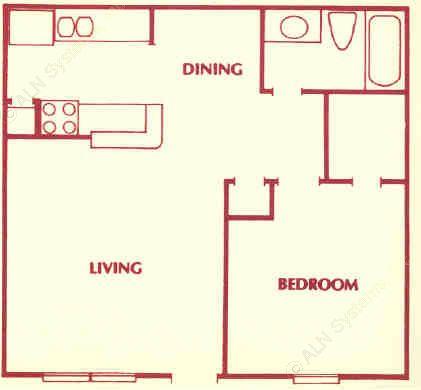 624 sq. ft. B floor plan