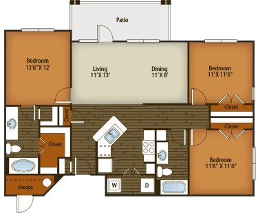 1,277 sq. ft. C1 floor plan
