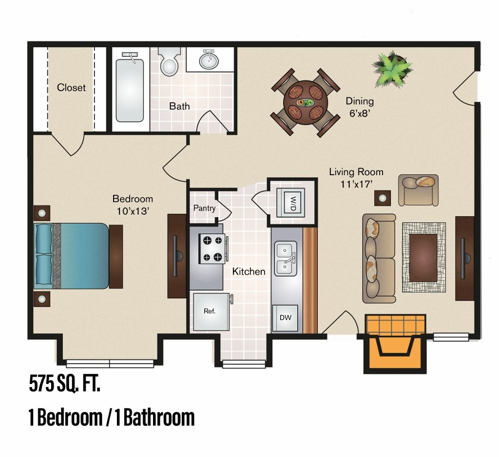 575 sq. ft. A-2 floor plan
