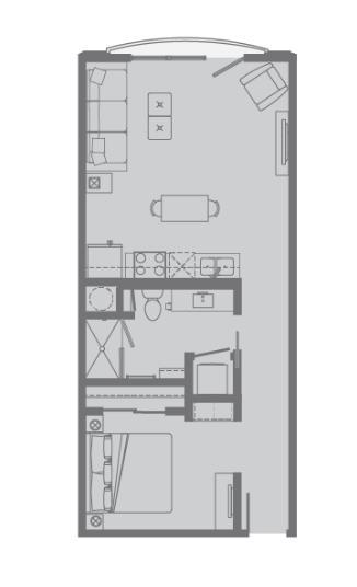 623 sq. ft. A4 floor plan
