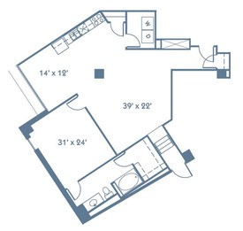 1,023 sq. ft. A8 floor plan