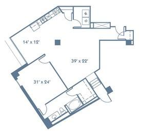 1,023 sq. ft. A8 floor plan