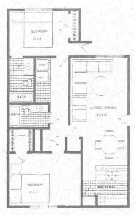 976 sq. ft. B5 floor plan