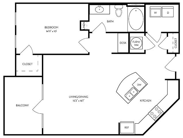 876 sq. ft. A3-Playa floor plan