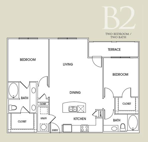 1,275 sq. ft. B2U floor plan