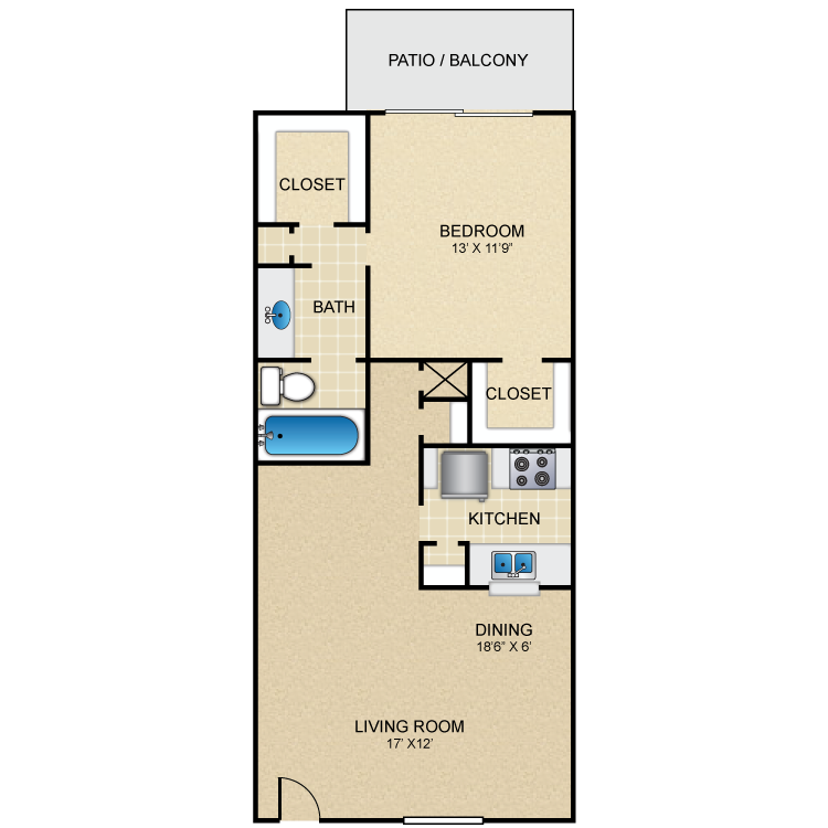 725 sq. ft. C floor plan