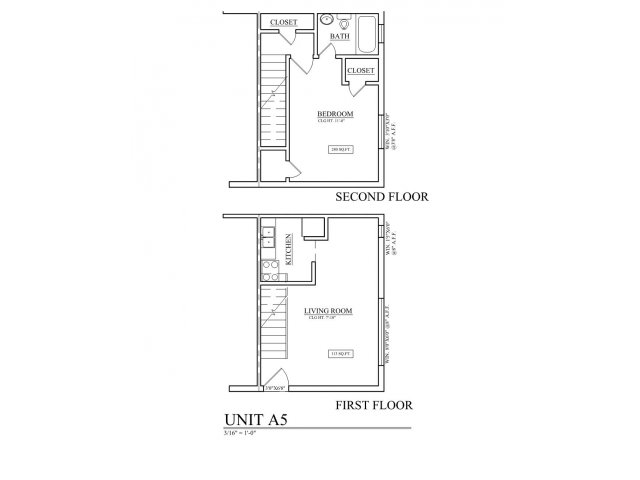 718 sq. ft. B5 floor plan
